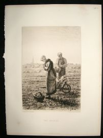 A.P.Martial  1884 etching after Millet. 'The Angelus'. Art Journal